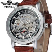 WRG8077M3S1 победитель марка бесплатная доставка новое прибытие Автоматическая мужчины серебристый цвет скелет часы с коричневый кожаный ремешок наручные часы