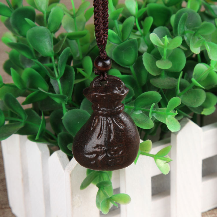 Tibétain ethnique ancienne bijoux Lucky Poisson en Bois Pendentif vintage Collier Long