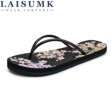 LAISUMK Summer New Bohemia Satin Slope Heel Beach Female Flip Flops Women Slippers