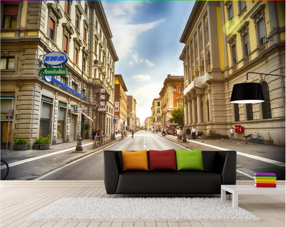3d صورة جدارية خلفية مخصصة بلدة مدينة شارع الأوروبية 3d