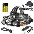 Boruit 3x 6000Lm XM-L T6 LED Faro Recargable Usb Lanterna Linterna Head Lamp + Ac/Cargador de Coche + 2x18650 de La Batería 4000 mAh