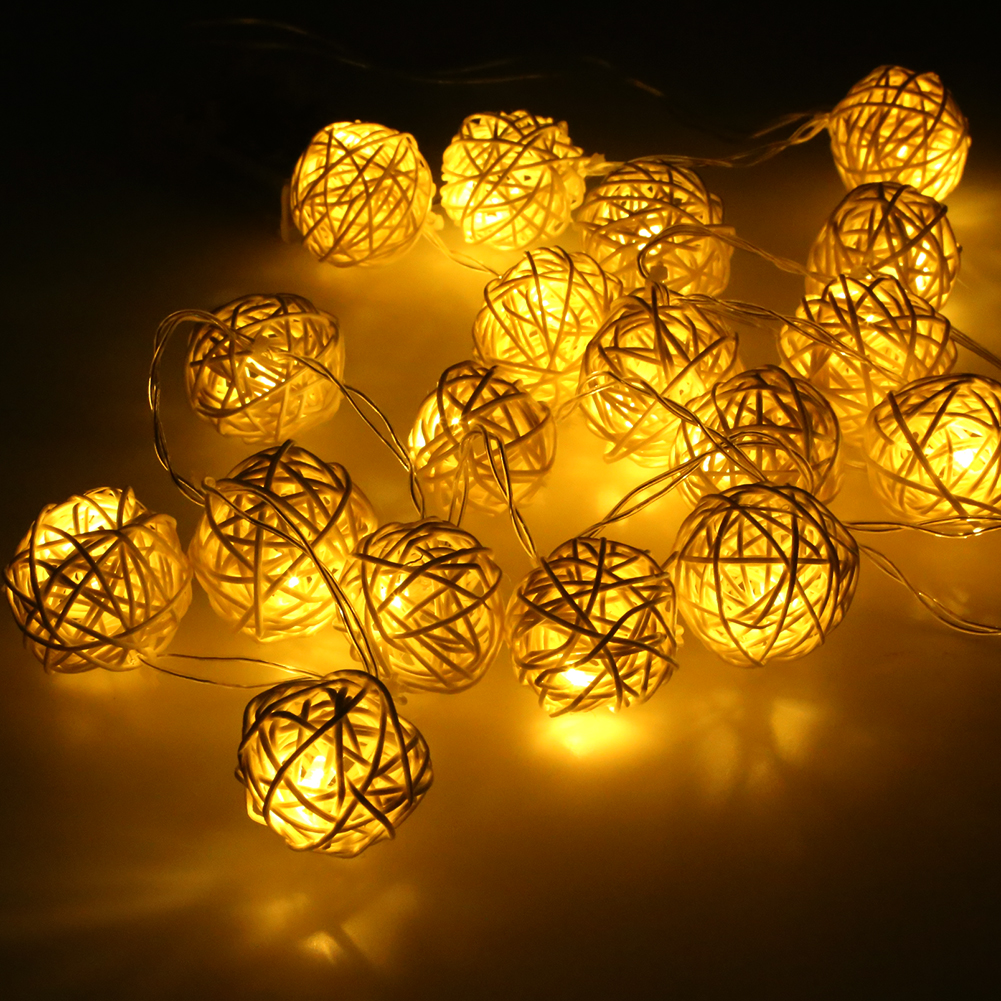 LED Battery String Lights 2M 20pcs White Handmade Rattan Balls String Lights  Fairy Party Wedding Patio