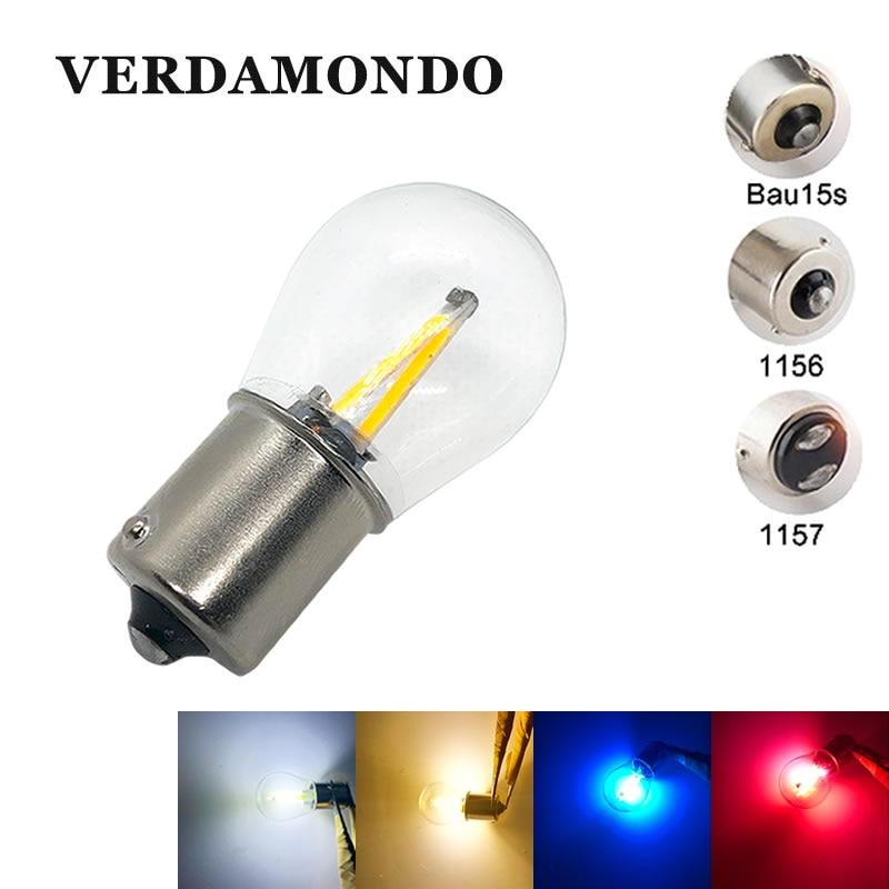 1156 BA15S 1157 BAY15D BAU15S Bulbs 2W Auto Car LED 2 COB Filament Brake Reverse Light Lamp  12V White Warm White Red Blue
