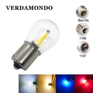 1156 BA15S 1157 BAY15D BAU15S лампы 2 Вт автомобильная светодиодная лампа 2 COB нить стоп-сигнал задний свет лампа 12 В белый теплый белый красный синий