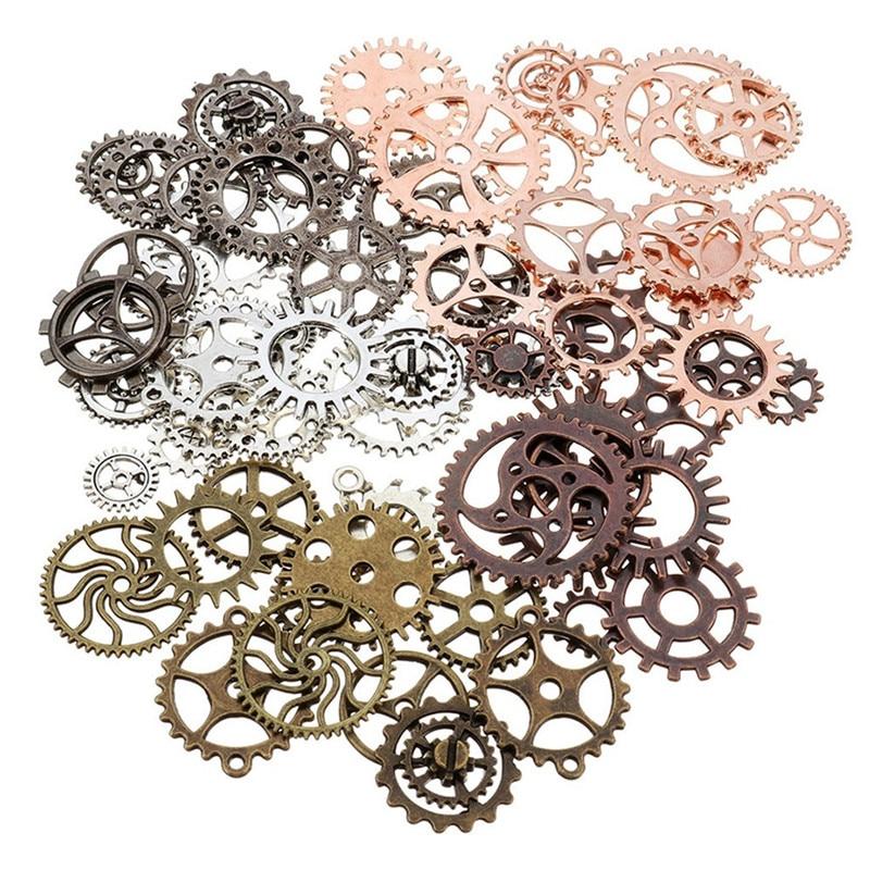 50g Steampunk Gears DIY Jewelry Accessories Gold Silver Gears Cog Wheel Charms Pendant Bracelet Accessories Diy Jewelry Making