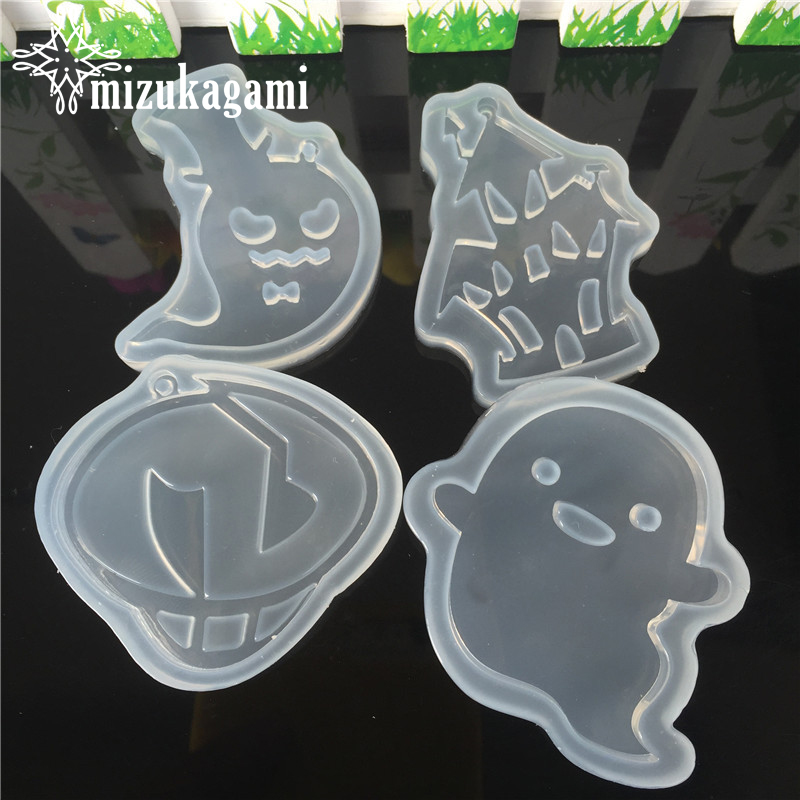 1pcs UV Resin Jewelry Liquid Silicone Mold Cartoon Ghost Castle Charms Molds For DIY Hallowmas Intersperse Decorate Jewelry