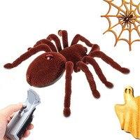 Spider Prank Điều Khiển Từ Xa Creepy Mềm Đáng Sợ Nhện Sang Trọng Hồng Ngoại RC Tarantula Mắt Tỏa Sáng Khéo Léo Đáng Sợ Toy Kid Gift