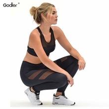 Купить с кэшбэком Godier Yoga Pants  Net Yarn Patchwork Ladie Elastic Hollow Push Up Women Leggings High Waist Black Pants Transparent  Gym Shark