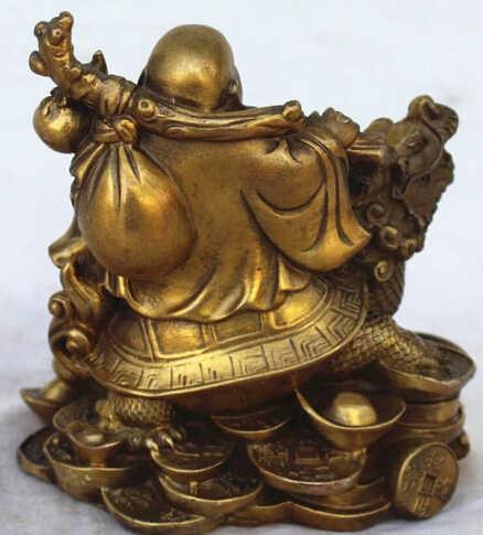 משלוח חינם סיני נחושת פסל עושר כסף שמח לצחוק מאטרייה בודהה על הדרקון צב