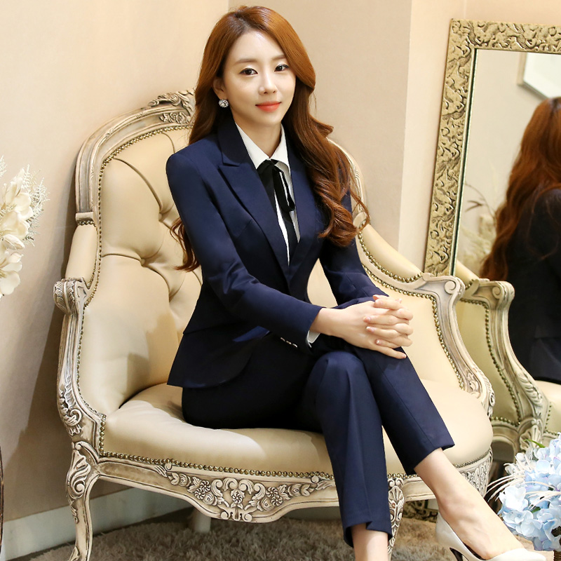 Black OL Business Suits Women New Style Office Lady Work Suits V-Neck Single Breasted Jacket +Trousers Plus Size