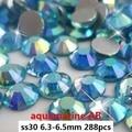 Alto Brillo No Hotfix Rhinestones Cristalinos 288 unids ss30 6.3-6.5mm Aguamarina AB Pegamento Espalda Plana de Cristal diamantes DIY Decoraciones