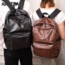 Купить с кэшбэком AIREEBAY Brand New Men Backpack Leather Vintage Male Functional Travel bags Large Capacity Men Bag School Bags For Teenager Boys