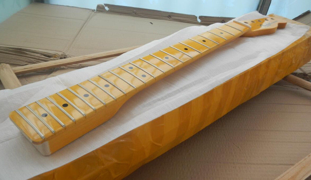 Yellow new telecaster style electric guitar neck 22 fret maple Gloss Finish new electric guitar strings chrome tele neck pickup telecaster
