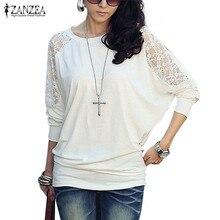 ZANZEA Women Lace Blouse 2018 Autumn Plus Size Long Batwing Sleeve Sexy Blusas Feminino Casual Loose Top Hollow Out Female Shirt