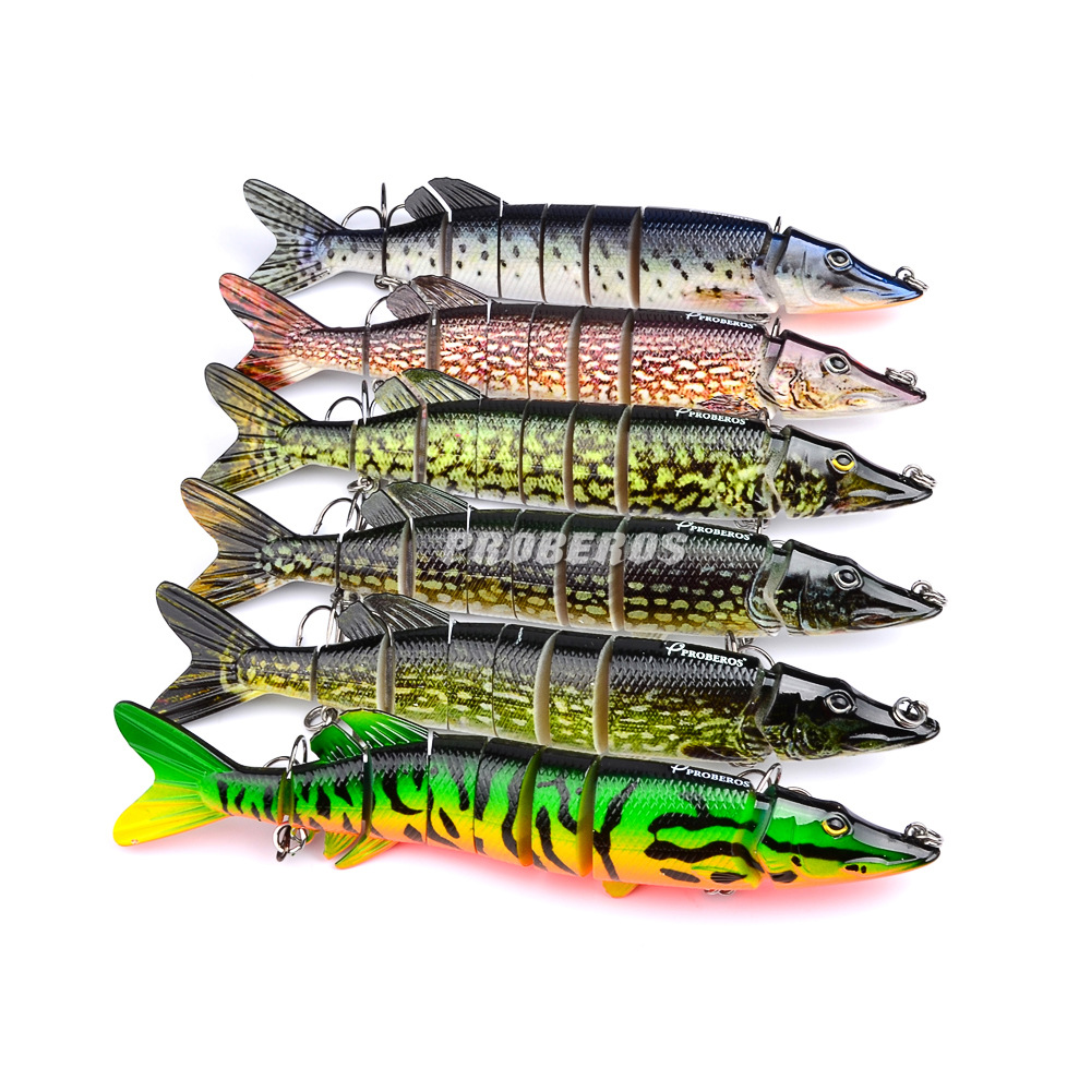 20cm 66g Sepanjang Hayat Pike Muskie Fishing Lure 8-segmen Swimbait Crankbait Pesca Hard Fishing Bait Treble Hook Fishing Tackle