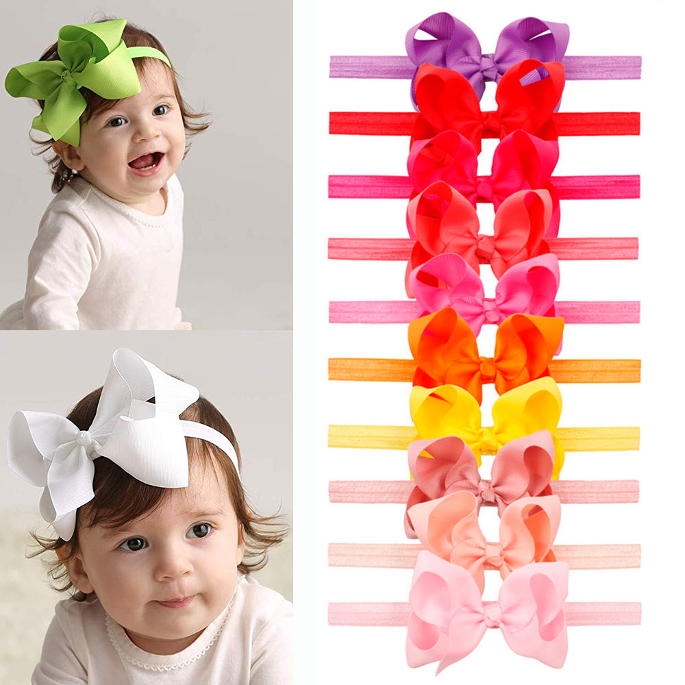 6 pc hair bows 4 inch baby girl toddler cheap hairbow lot hair clip US seller