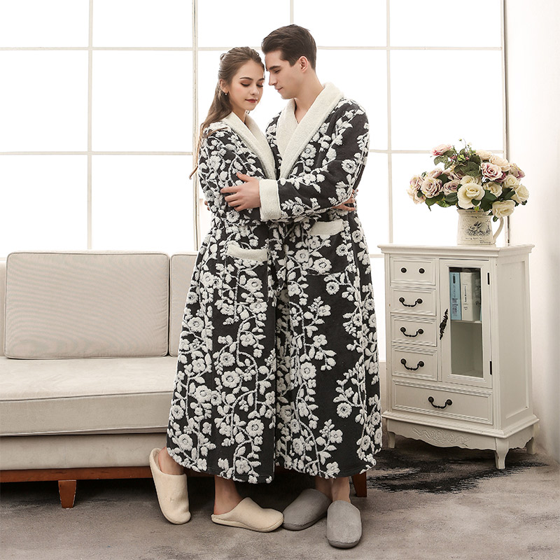 Floral Patchwork Sashes Lace Up Loves Bathrobe Long Thicken Warm Wrap Nightgown Women Men Plus Size 2018 Winter Couple Robes