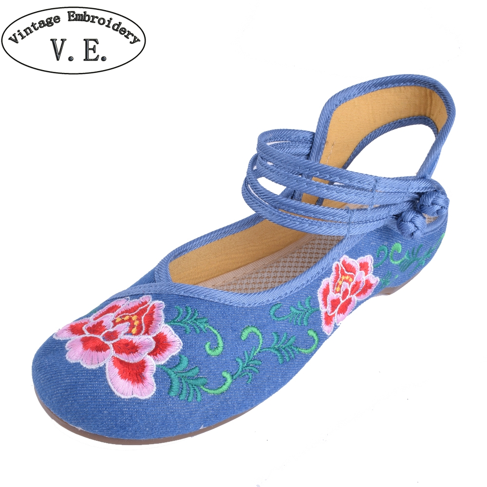 Chinese Embroidery Women Flats Old Beijing Embroidered Canvas Floral Shoes Traditional  Dance Single Ballet Flats Shoes Sandals plus size 41 fashion women shoes old elegant art party beijing mary jane flats with casual shoes chinese style embroidered clo