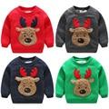 Outono Inverno 2016 New Arrival Meninos Camisolas Quentes de Espessura Meninos Caráter Fashion-veados Camisolas Dos Miúdos Roupas de Inverno