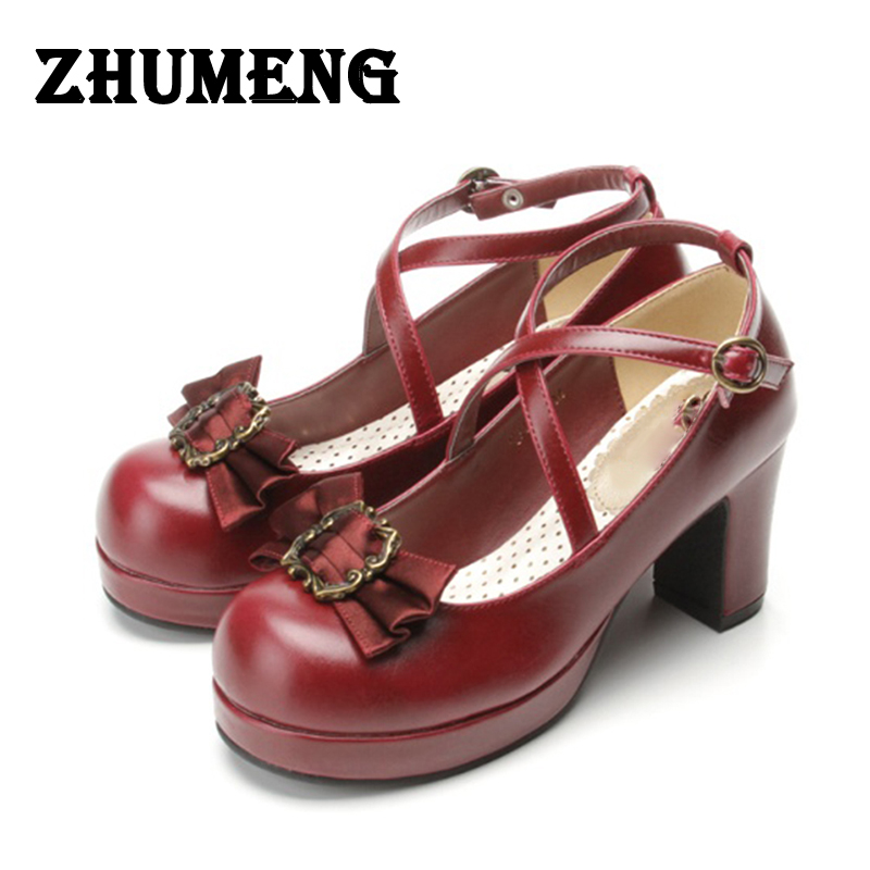 2017 Spring Womens Pumps Shoes Genuine Leather Platform Shoes Bow Shoes Lolita Sweet Middle High Heel Pump lolita Cosplay Ladies japanese lolita girls square high heel shoes princess lace sweet bow round toe leather platform shoes