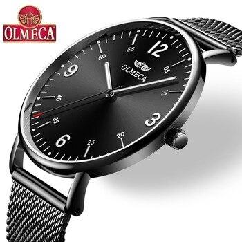 5d6fa6a94a99 OLMECA Reloj de lujo Reloj Hombre relojes de hombres resistente al agua  cronógrafo luminoso manos Reloj de pulsera para hombres Saat Montre