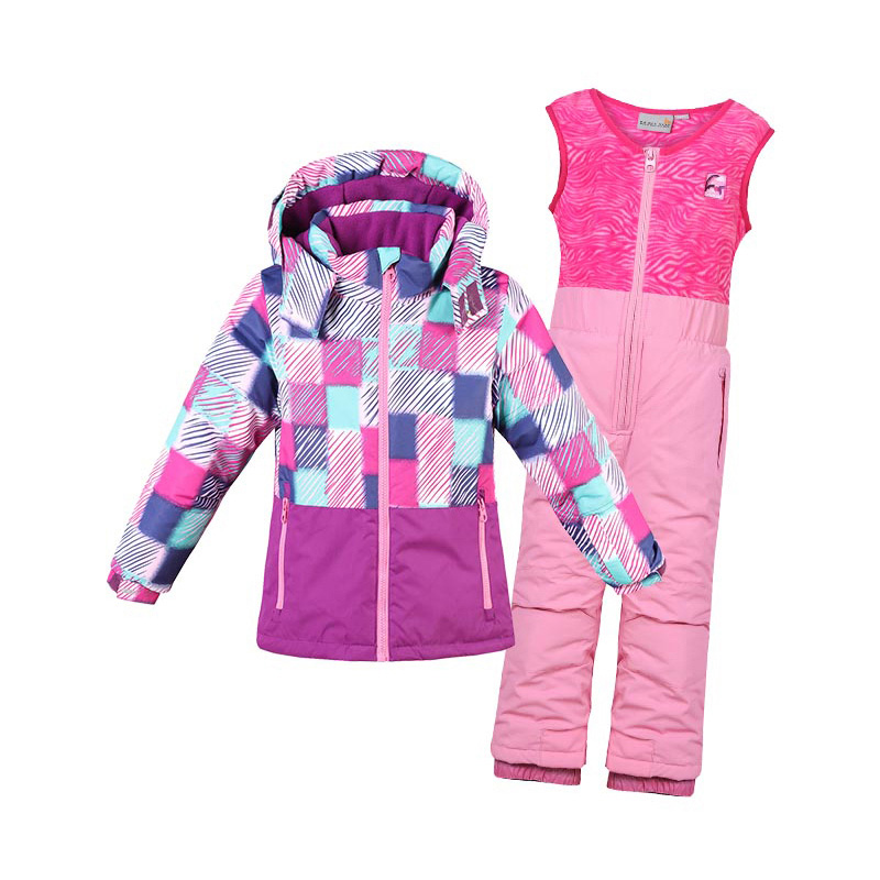 Mioigee 2018 Boy Girl Ski Suit Waterproof Windproof Hooded Jacket + Pant 2pcs Sets Outdoor Warm Sport Children Clothing Set mioigee 2018 boys and girls ski jacket pants 2pcs sport suit for boys children outdoor ski sets hooded windproof waterproof