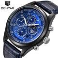Часы BENYAR мужские  спортивные  водонепроницаемые  из кожи  с отображением даты и Луной