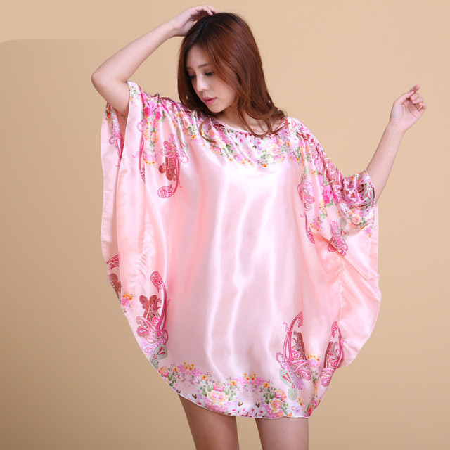 Plus Size Loose Style Rayon Floral Print Women Nightgowns Summer Sleepdress Short Sleeve Night Gown Sleepwear Lounge Casual Wear