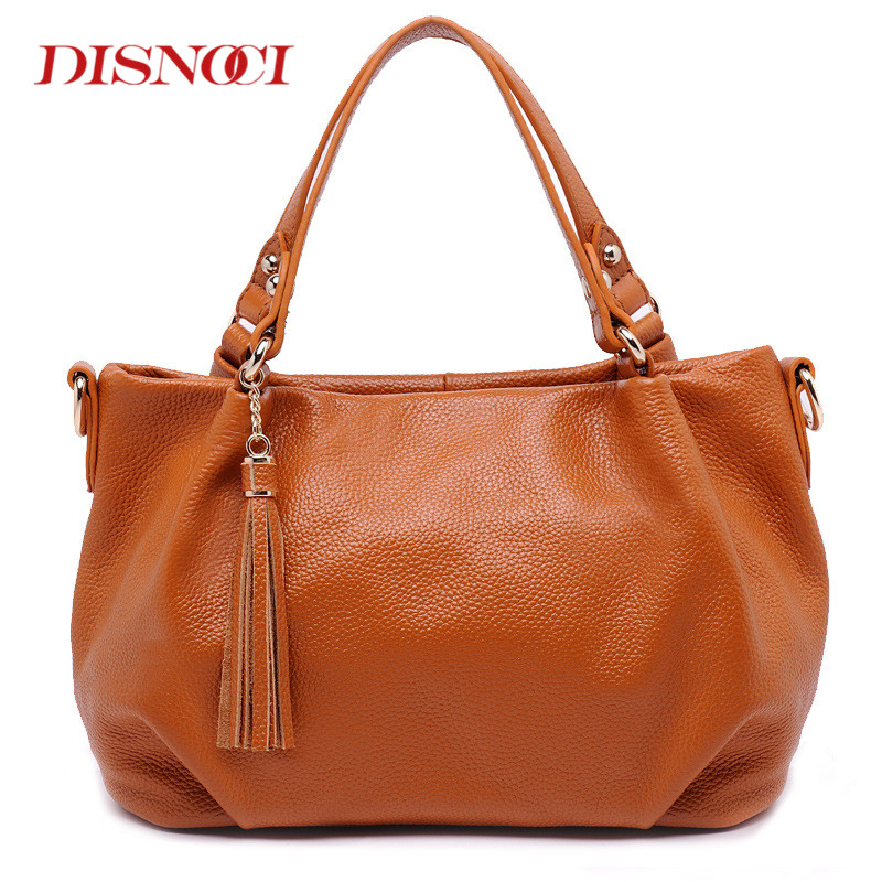DISNOCI Fashion genuine leather tote bag female fashion cow leather handbags women tassel messenger bags large shoulder bag luxury handbags women bags designer red genuine leather tassel messenger bag fashion extra large casual tote zipper shoulder bag page 4