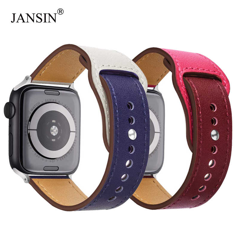 JANSIN Double color leather band for apple watch series 5/4 3/2/1 Genuine leather Sports Strap for iWatch 38mm 42mm 40mm 44mm