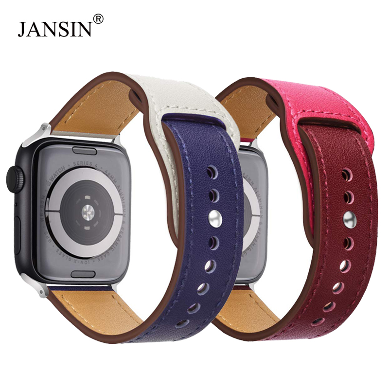 JANSIN New Double color leather band for apple watch series 4 3/2/1 Genuine leather Sports Strap for iWatch 38mm 42mm 40mm 44mm цвета apple watch 4