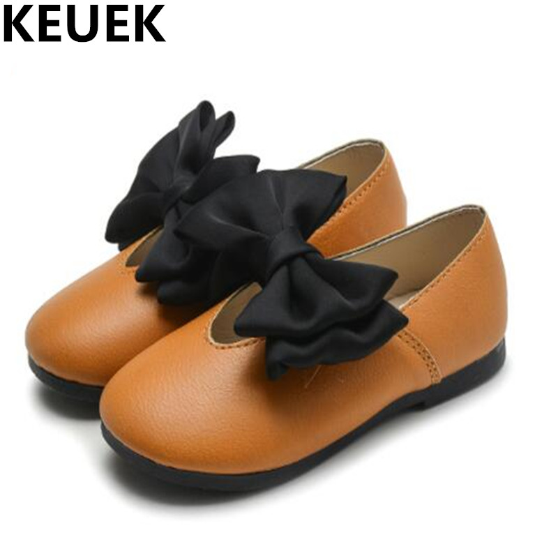 NEW Spring/Autumn Children Casual Shoes Girls Flats Fashion Bowtie Shallow mouth Loafers Kids Leather Shoes Toddler Baby 044