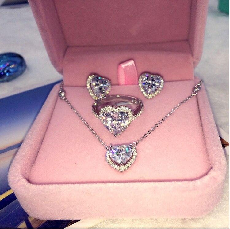 Nouveauté 925 en argent Sterling coeur amour boucles d'oreilles pour les femmes clair CZ argent boucle d'oreille bijoux Brincos mode boucle d'oreille