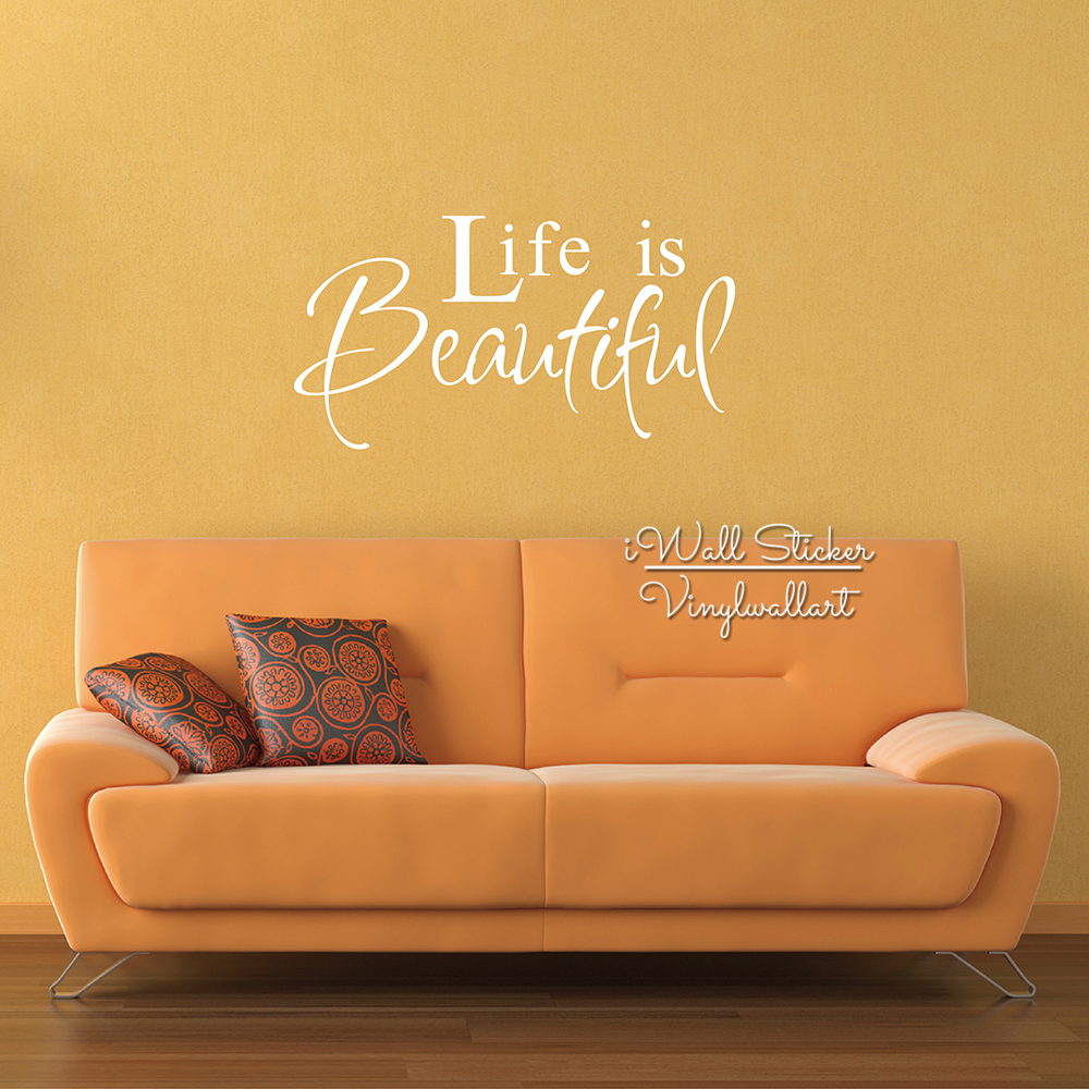 Life Is Beautiful Quote Wall Sticker Life Wall Quotes Home Decor ...