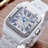 DALISHI Luxury Brand Male Ceramic Watch Quartz Couple Watch Men Dress Wristwatch Fashion Roman Dial Luminous Date Men Clock