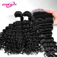 Indian Human Hair Bundle With Closure Deep Wave Virgin 2 or 3 Piece Hair Extension 4x4 Swiss Lace Closure Free Part AddBeauty
