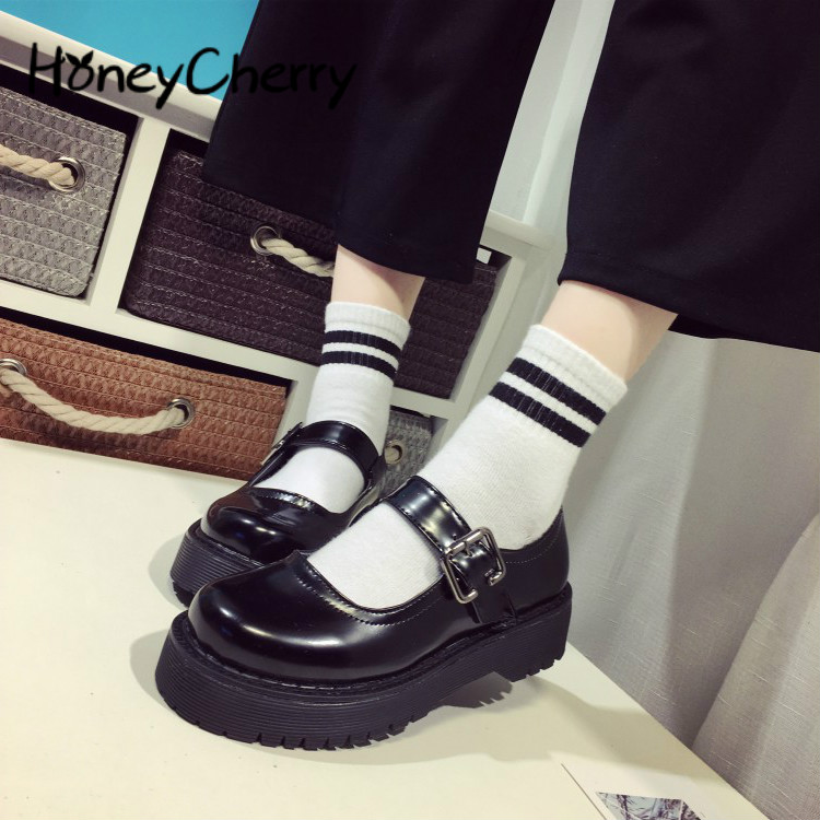 Lolita Lady Maid Uniform Performance Buckle Round Head Thick High Heel Muffin Thick Sole Single Shoe  Cosplay  Size35-39