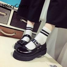 Lolita uniforme pour femmes de ménage, boucle de Performance, tête ronde, talon haut, Muffin, semelle épaisse, chaussure simple, Cosplay Size35 39