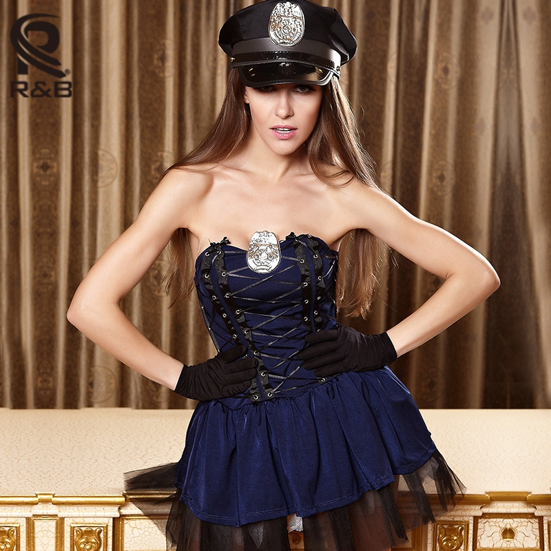 2017 New Blue Hot Sexy Police Womens Sexy Costume Role Play Night Club Wear -2507