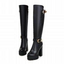 WETKISS Buckle Knee High Boots Thick High Heels Knight Boots Platform Shoes Woman Autumn Winter Boots Cool Winter Shoes Woman
