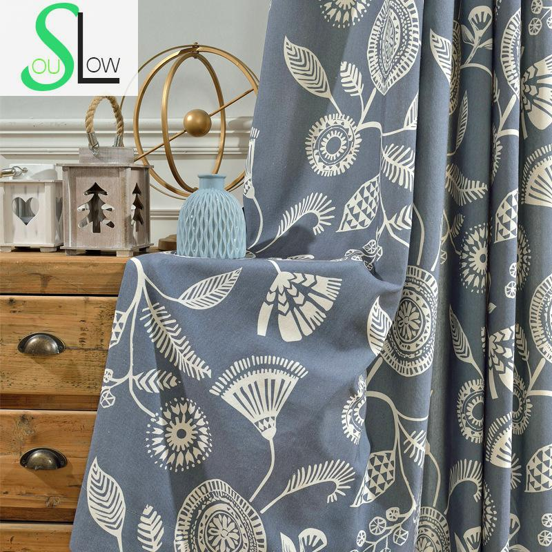 Slow Soul Green Grey Rice Blue Modern Boutique Simple Shading Curtain Pastoral Scenic Curtains For Living Room Kitchen Bedroom