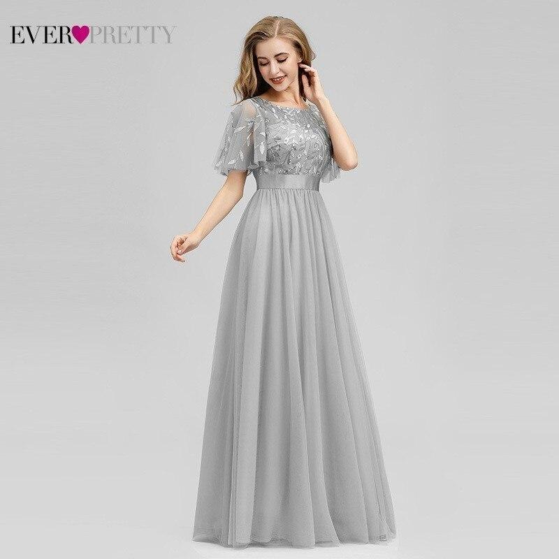 Ever Pretty Sparkle Grey   Bridesmaid     Dresses   A-Line O-Neck Short Sleeve Tulle Women   Dresses   For Wedding Party Vestido Madrinha
