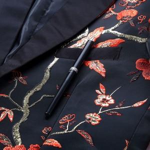 Image 3 - PYJTRL 新レッドゴールドブルーグリーンブロケード刺繍花の鳥パターンスリムフィットブレザーデザイン男性のスーツのジャケットステージ歌手着用
