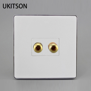 Glossy Panel Hifi Speaker Plug Outlet With 2 Socket For Home Theater System Connection