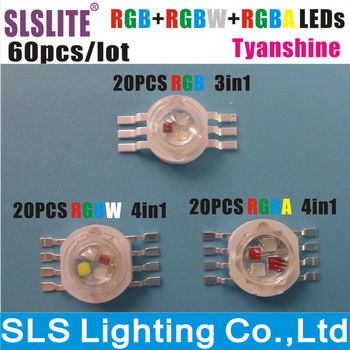 60PCS/LOT High power LED Lamps led chip RGB 3IN1 RGBW 4IN1 RGBA 4 in1 TianXin Brand TYANSHINE RGBW/A Chips high light lights