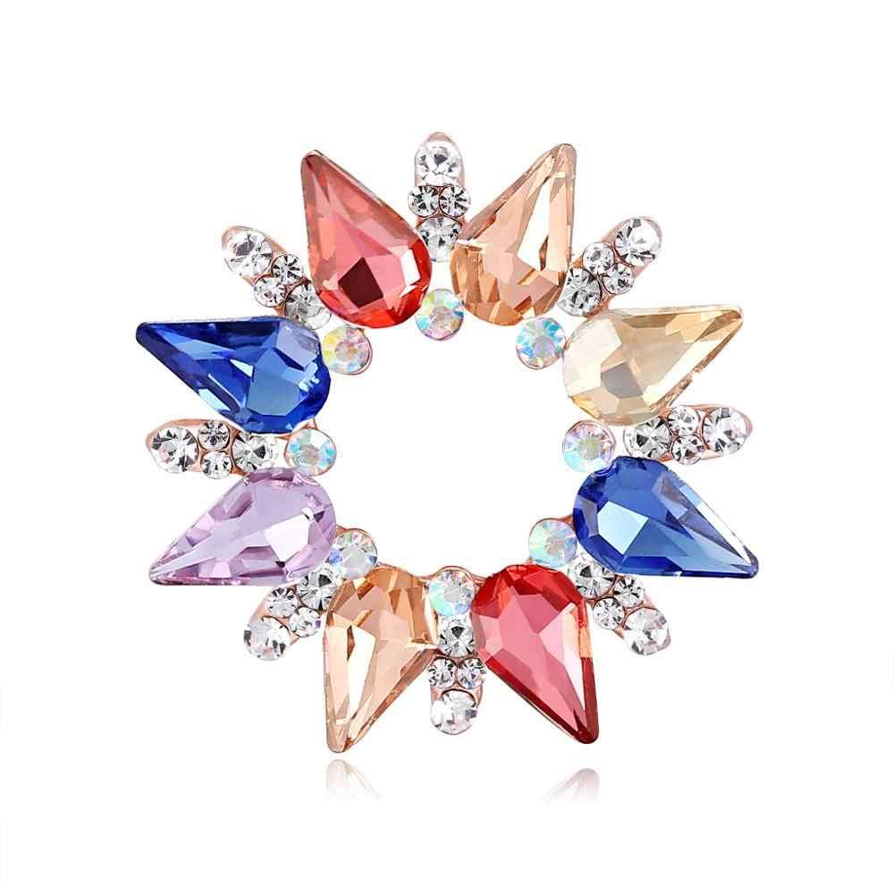2019 Новое поступление, блестящие изысканные большие яркие цветные яркие хрустальные броши для женщин, свадебные броши для вечеринок, многоцветные броши, ювелирные изделия