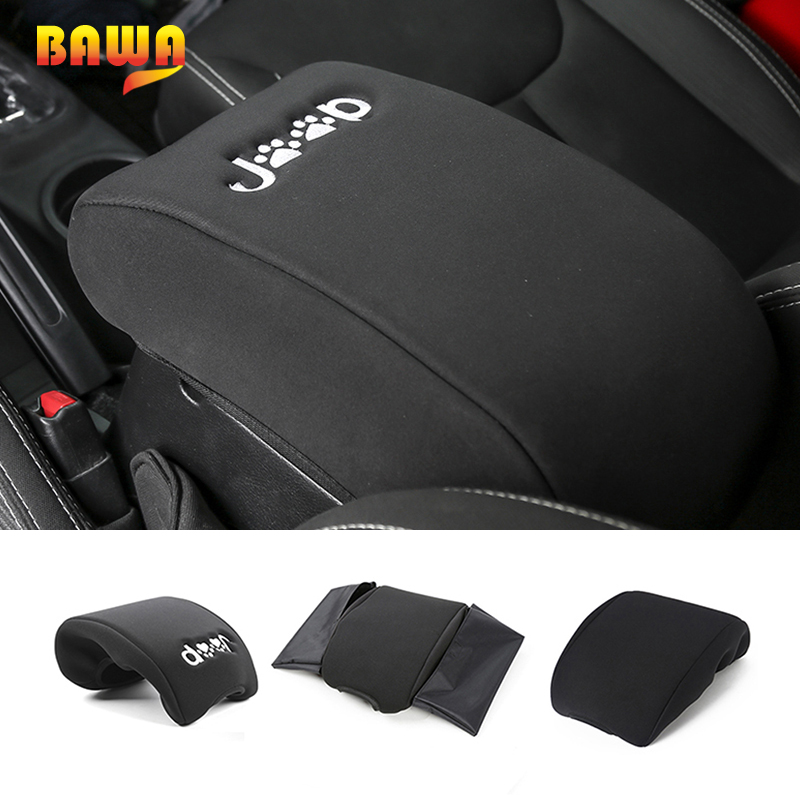 BAWA Armrests Pads Cover for Jeep Wrangler JK 2011-2017 Cloth Multifunctional Armrest Box Cover for Jeep Wrangler jk Accessories