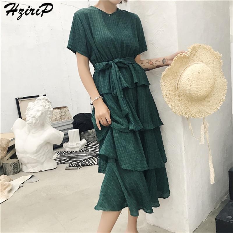 2018 New Summer Solid O-neck Vacation Beach Dress Women Elegant OL Vintage Cotton Loose Dresses High Quality Long Dress vestido 1
