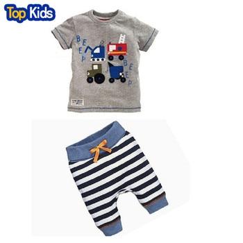 BCS178-1 Retail 2 pcs Set New baby kids boys summer clothes short-sleeve T-shirt top + striped pants children clothing set 1