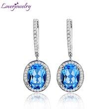 LOVERJEWELRY серьги Vintage Dangle Earrings Oval 7x9mm 14Kt White Gold Diamond Bule Topaz Wedding  Jewelry Earrings For Women